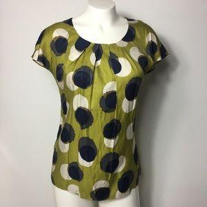 Boden Women's Blouse sz 2 Multi color Dots Top